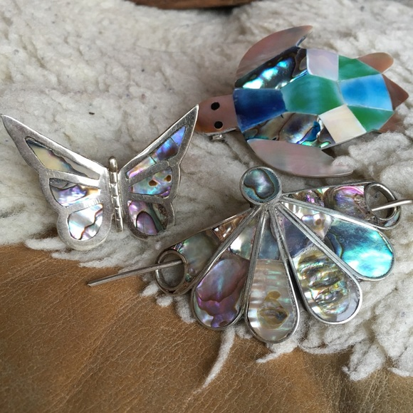 804c946d76cf8 alpaca mother of pearl hair clips/butterfly pin